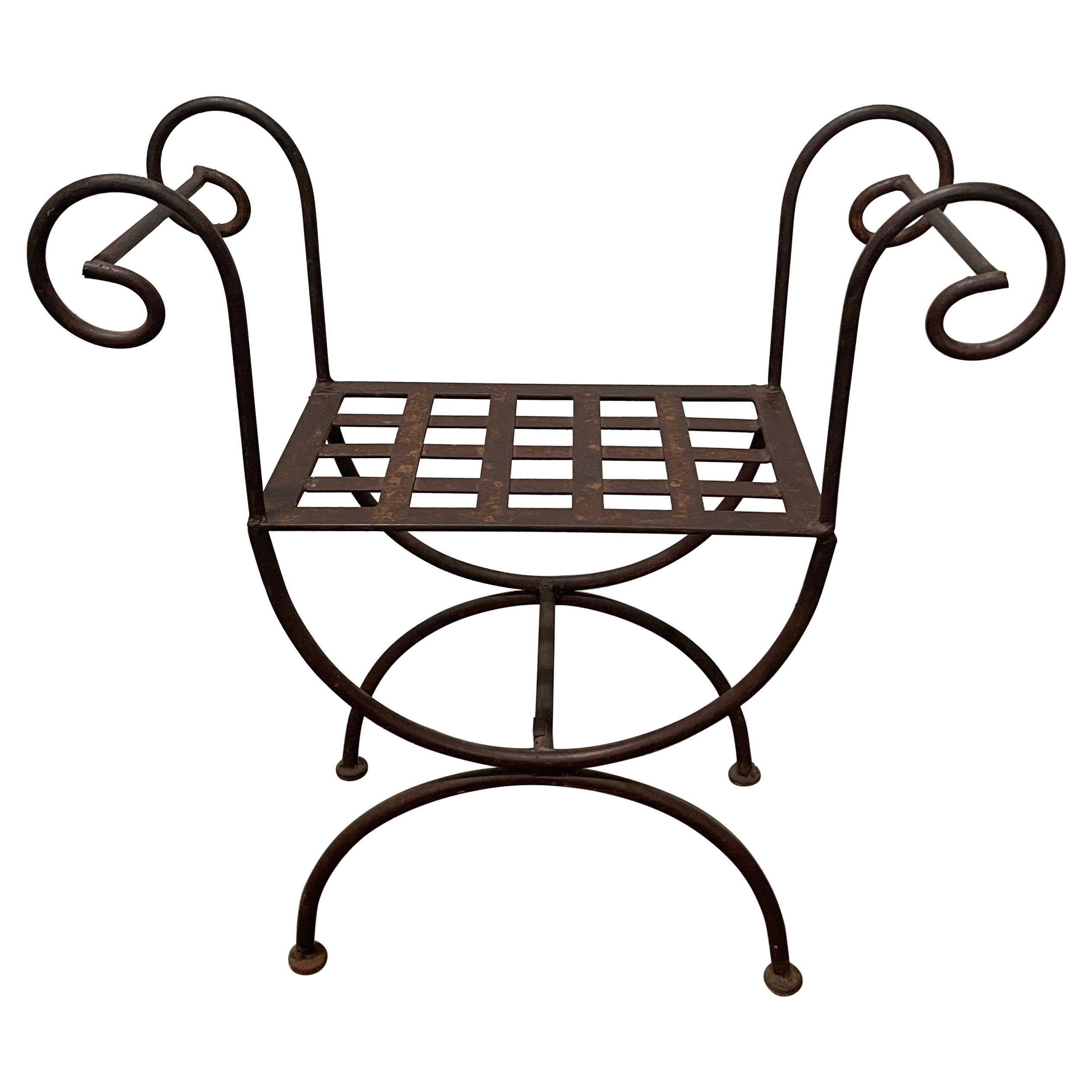 Curule Style Iron Bench