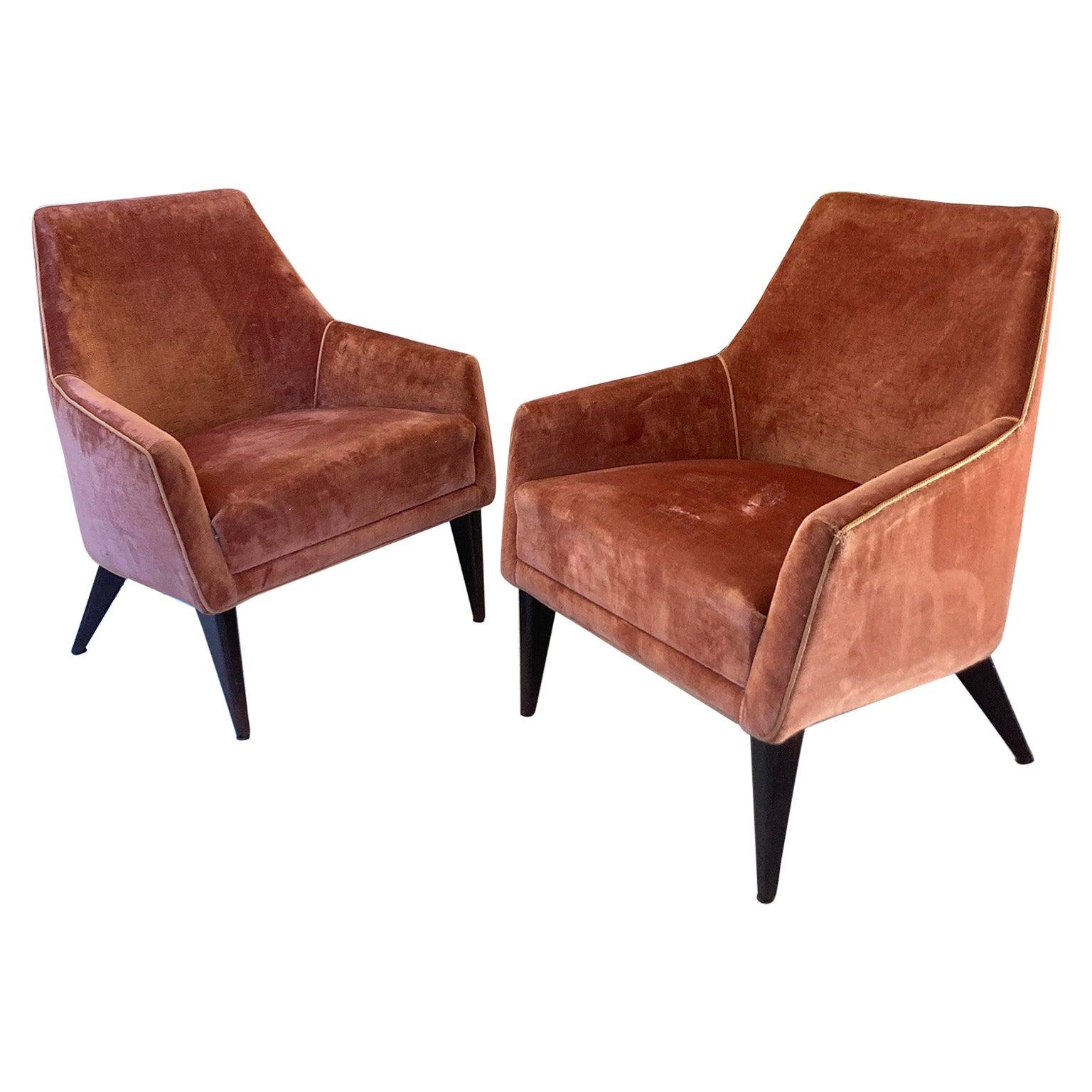 Midcentury Italian Velvet Armchairs in Gio Ponti Style Manufacture ISA, 1958
