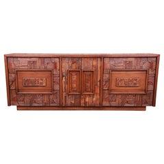 Paul Evans Style Lane Pueblo Brutalist Mid-Century Modern Oak Dresser, 1970s