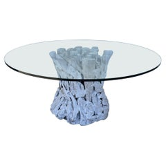 Natural Drfitwood Dining Table with Glass Top