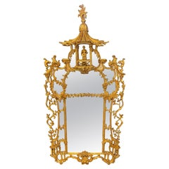 Chinese Chippendale Gilt Wood Wall or Console Mirror, Monumental