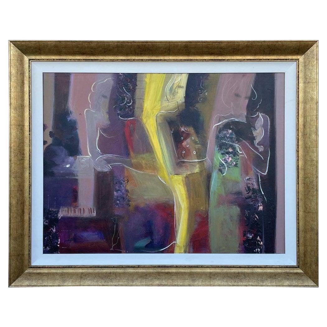 Large Acrylic on Canvas Signed Sabzi Reunion Time