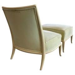 Elegant T.H. Robsjohn-Gibbings Slipper Chair with an Ottoman