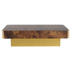 Gold Lacquer and Brass Maison Jansen Coffee Table, C. 1970
