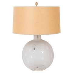 Jean Boris Lacroix Etched Glass Lamp in Rounded Form