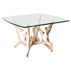 Fred Brouard Square Glass Topped Brass & Bronze Sculptural Low Table