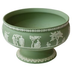 Antique Sage Green Wedgwood Jasperware Footed Bowl with White Overlay