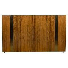 Milo Baughman Thayer Coggin Vintage Modern Queen Rosewood Brass Plate Headboard