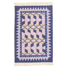 Vintage Chinese Geometric Kilim Rug with Post-Modern Cubist Style