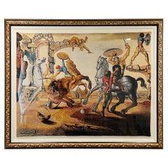 "Salvador Dali Large Jacquard Woven Tapestry, Signed, ""Battle Around Dandelion"""