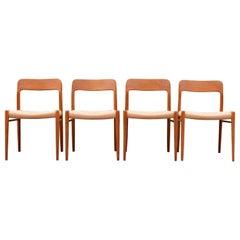Niels Møller Modell 75 Danish Teak Dining Papercord Chair for J.L. Møllers