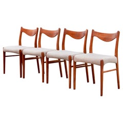 Arne Wahl Iversen Model GS60 for Glyngore Danish Teak Dining Chair Set of 4