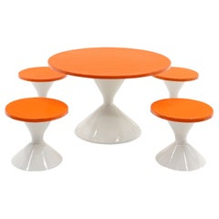 Low Round Outdoor Table w/ Four Stools, Orange and White, Perfect for Kids