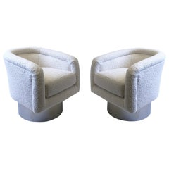 Pair of White Boucle and Chrome Swivel Lounge Chairs by Leon Rosen for Pace