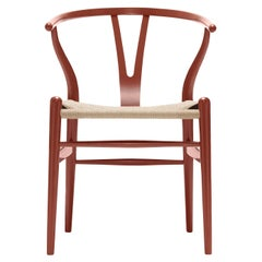 CH24 Wishbone Chair in Red Brown with Natural Papercord Seat by Hans Wegner