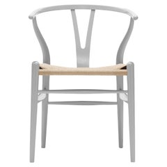 CH24 Wishbone Chair in Silver Gray with Natural Papercord Seat by Hans Wegner