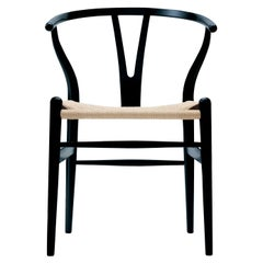 CH24 Wishbone Chair in Black with Natural Papercord Seat by Hans Wegner