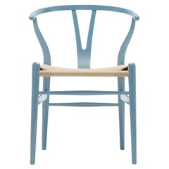 CH24 Wishbone Chair in Steel Blue with Natural Papercord Seat by Hans Wegner