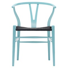 CH24 Wishbone Chair in Azure Blue with Black Papercord Seat by Hans Wegner