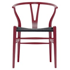 CH24 Wishbone Chair in Berry Red with Black Papercord Seat by Hans Wegner