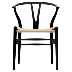 CH24 Wishbone Chair in Painted Black Ash & Natural Papercord Seat by Hans Wegner