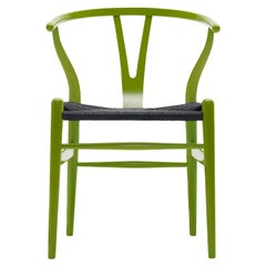 CH24 Wishbone Chair in Spring Green with Black Papercord Seat by Hans Wegner