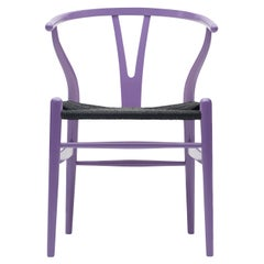 CH24 Wishbone Chair in Lavender Purple with Black Papercord Seat by Hans Wegner