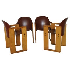 """Set of Four """"Dialogo"""" Brown Leather Chairs by Tobia Scarpa for B&B, Italy, 70s"""