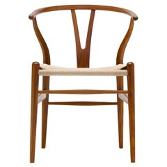 CH24 Wishbone Chair in Walnut Lacquer with Natural Papercord Seat by Hans Wegner