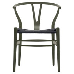CH24 Wishbone Chair in Olive Green with Black Papercord Seat by Hans Wegner