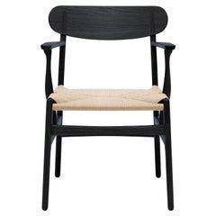 CH26 Dining Chair in Oak Painted Black & Natural Papercord by Hans J. Wegner