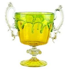 Venetian Murano C. V. M. Yellow Green Drip Gold Italian Art Glass Trophy Vase