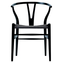 CH24 Wishbone Chair in Black with Black Papercord Seat by Hans Wegner