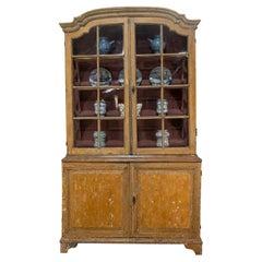 Elegant 18th Century Dutch Vitrine Original Painted Glazed Cabinet, Yellow