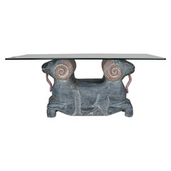 Rectangular Carved Wood Double Ram Head Coffee Table with Glass Top