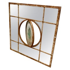 Large 19th Century Industrial Window Mirror with Central Leaded Bottle Glass Ope