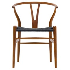 CH24 Wishbone Chair in Walnut Lacquer & Black Papercord Seat by Hans J. Wegner
