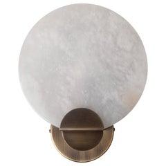 21st Century Walla Walla Wall Lamp Aged Brushed Brass Alabaster