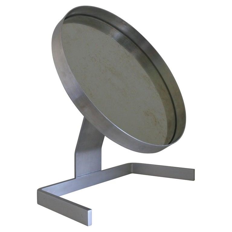 Modernist Aluminum Vanity or Table Mirror by Pierre Vandel, France 1970s For Sale