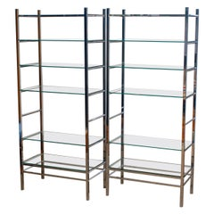 1970's Pair Italian Modernist Vitrine / Bookcase / Etagere in Chrome with Glass