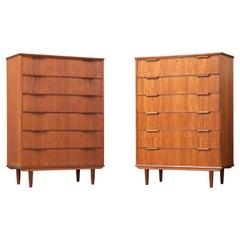 Matching Pair of Danish Midcentury Kai Kristiansen Style Tall Teak Dressers
