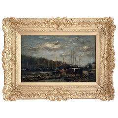 """Daubigny Karl """"Paris, Barges on the Seine"""" Panel"""