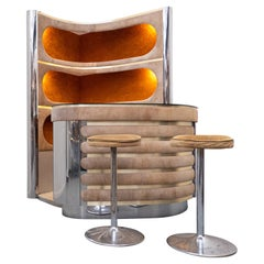 Mid-Century Modern Suede Bar by Willy Rizzo, Italy, 1970s