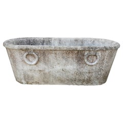 19th Century Spanish Handcarved Marble Bath w/ Rings