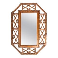 1970s Spanish Handmade Bamboo Mirror