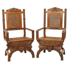 Pair of Indian Throne Chairs, Carved with the Arms of the Kingdom of Travancor