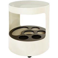 White Italian Side Table / Serving Trolley, 1970s