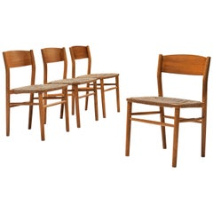 Børge Mogensen Dining Chairs in Teak and Cord Seating