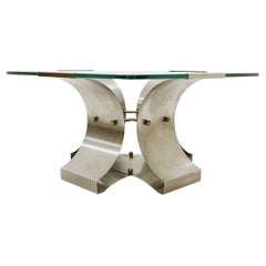 Coffee Table in Glass and Steel by François Monnet for Kappa, France,  1970s