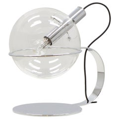 Chrome and Glass Design Globe Table Lamp, 70s